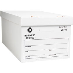 "Business Source Storage Box, Lift Off Lid, Letter, 12"" x 24"" x 10"", White"
