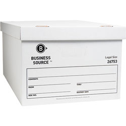 "Business Source Storage Box, Lift Off Lid, Legal, 15"" x 24"" x 10"", White"
