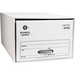 "Business Source Storage Drawer, Legal, 15-1/2"" x 23-1/4"" x 10-1/4"", White"