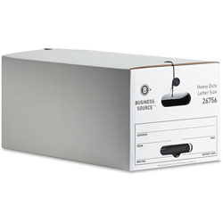 Business Source Storage Box, Medium-duty, Letter, White/Black