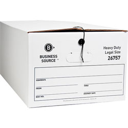 "Business Source Storage Box, Legal, 15"" x 24"" x 10"", White"
