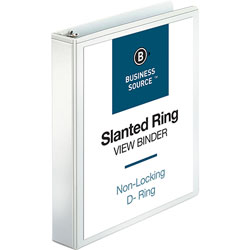 "Business Source 39% Recycled D-Ring Presentation Binder, 1 1/2"" Capacity, White"
