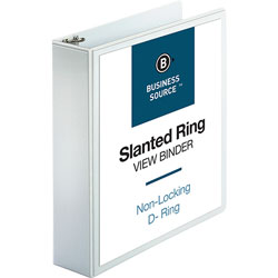 "Business Source 39% Recycled D-Ring Presentation Binder, 2"" Capacity, White"