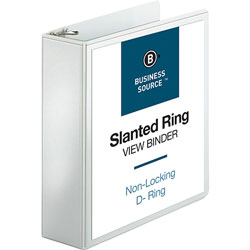 "Business Source 39% Recycled D-Ring Presentation Binder, 3"" Capacity, White"