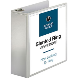 "Business Source 39% Recycled D-Ring Presentation Binder, 4"" Capacity, White"