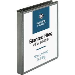 "Business Source 39% Recycled D-Ring Binder, 1"" Capacity, Black"