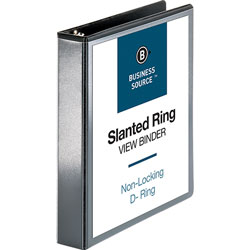 "Business Source 39% Recycled D-Ring Binder, 1 1/2"" Capacity, Black"