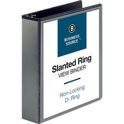 "Business Source 39% Recycled D-Ring Binder, 2"" Capacity, Black"