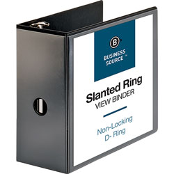 "Business Source 39% Recycled D-Ring Binder, 5"" Capacity, Black"