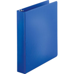 "Business Source 35% Recycled Round Ring Binder, 1 1/2"" Capacity, Blue"