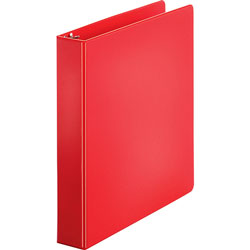 "Business Source 35% Recycled Round Ring Binder, 1 1/2"" Capacity, Red"