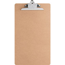 "Business Source Hardboard Clipboard, Nickel-Plated Clip, 9"" x 15-1/2"", Brown"