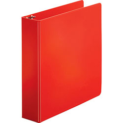 "Business Source 35% Recycled Round Ring Binder, 2"" Capacity, Red"