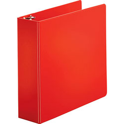 "Business Source 35% Recycled Round Ring Binder, 3"" Capacity, Red"
