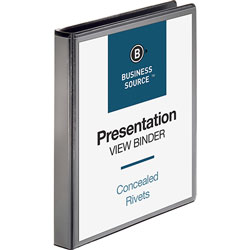 "Business Source 35% Recycled Round Ring Binder, 1"" Capacity, Black"