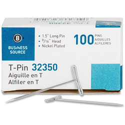 "Business Source T-Pins, 9/16"" Head Width, 1-1/2"" Length, 100/Box, Silver"
