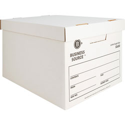 "Business Source Storage Boxes, Letter/Legal, 12"" x 15"" x 10"", White"