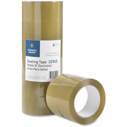 "Business Source Packing Tape, 3.54mil, 3"" Core, 1-7/8"" x 164', 6 Pack, Tan"