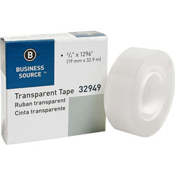 "Business Source All-Purpose Tape, 1"" Core, 3/4"" x 1296"", Clear"