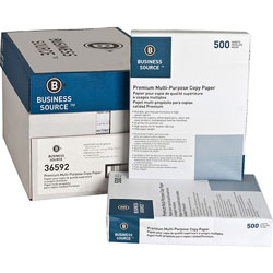 Business Source White Multipurpose Paper, 8 1/2 x 11 (Letter), 92 Bright, 20 lb, 500 Sheets Per Ream, Case of 10 Reams