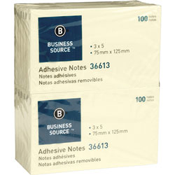 "Business Source Adhesive Notes, 100 Sheets, 3"" x 5"", Yellow"