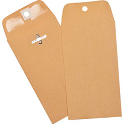 "Business Source Heavy-duty Clasp Envelopes, 3-3/8"" x 6"", Brown Kraft"