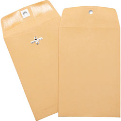 "Business Source Heavy-duty Clasp Envelopes, 5"" x 7-1/2"", Brown Kraft"