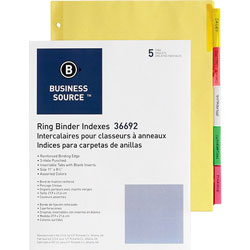 Business Source 5-Tab Index Tabs, Assorted Colors