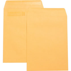 "Business Source Catalog Envelopes, w/Adhesive Strip, Plain, 9"" x 12"", Kraft"