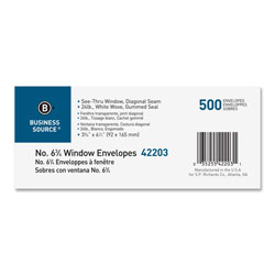 "Business Source Window Envelope, No. 6-3/4"", 3-5/8""x6-1/2"", 500/BX, White"