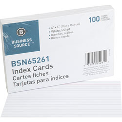 "Business Source Index Cards, Ruled, 90lb., 4"" x 6"", White"