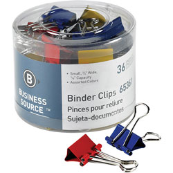 "Business Source Binder Clips, 3/4""W, 3/8"" Capacity, 36 Pack, Assorted"