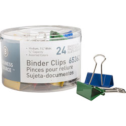 "Business Source Binder Clips, 1/4""W, 5/8"" Capacity, 24 Pack, Assorted"