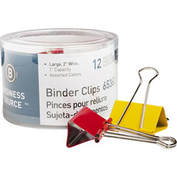 "Business Source Binder Clips, 2""W, 1"" Capacity, Assorted"