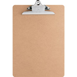 "Business Source Hardboard Clipboard, Nickel-Plated Clip, 9""x12-1/2"", Brown"