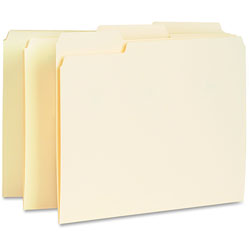 Business Source Interior File Folders, 1/3 Cut Assorted Tabs, Manila
