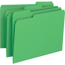 Business Source File Folder, 1-Ply, 1/3 Cut Assorted Tabs, Letter, Green
