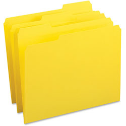 Business Source File Folder, 1-Ply, 1/3 Cut Assorted Tabs, Letter, Yellow