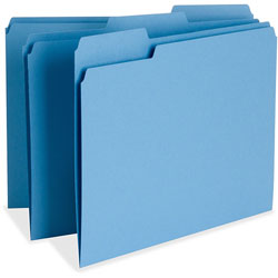 Business Source File Folder, 1-Ply, 1/3 Cut Assorted Tabs, Letter, Blue