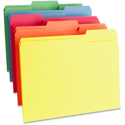 Business Source File Folder, 1-Ply, 1/3 Cut Assorted Tabs, Letter