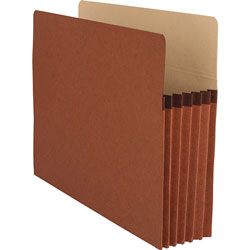 "Business Source File Pocket, 5-1/4"" Expanding, Letter, 10/Box, Redrope"
