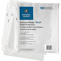 Business Source Top Loading Sheet Protector, Clear