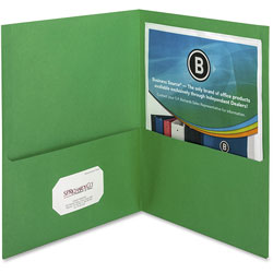 Business Source Two Pocket Pocket Folder, Green, Pack of 25