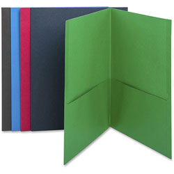 Business Source Two Pocket Pocket Folder, Assorted Colors, Box of 25