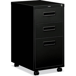 "Basyx by Hon 1600 Series Mobile Box/box/File Pedestal File w/""M"" Pull Drawers, 20d, Black"