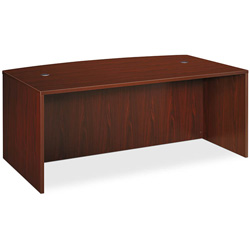 Basyx by Hon BL Laminate Series Bow Front Desk Shell, 72w x 42w x 29h, Mahogany