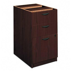 Basyx by Hon Three Drawer Pedestal File, Mahogany Finish, 15 5/8w x 21 3/4d x 27 3/4h