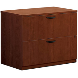 "Basyx by Hon 2-Drawer Lateral File, 35-1/2"" x 22"" x 29"", Medium Cherry"