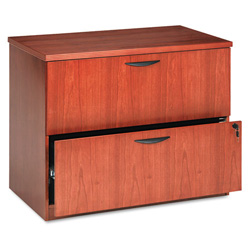Basyx by Hon Two Drawer Lateral File Pedestal, Rich Wood Veneer, Bourbon Cherry, 36wx24dx29h