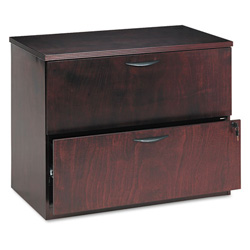 Basyx by Hon Two Drawer Lateral File Pedestal, Rich Wood Veneer, Mahogany, 36wx24dx29h